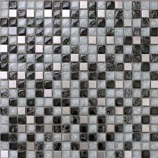 Buy Stainless Steel Backsplash by Black And White Mosaic Tile Crackle Glass Patterns Kitchen