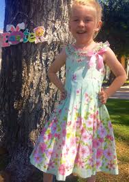 mint green and pink floral spring dress for little girls