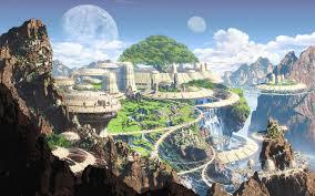 artwork fantasy art mountains old town moon futuristic walldevil