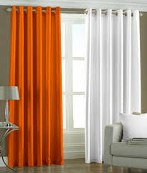 Orange White Curtains 51 On Pindia Plain Eyelet Curtains 7ft Set Of 2 Orange