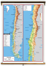 Physical Map Of Central America by Chile Physical Educational Wall Map From Academia Maps