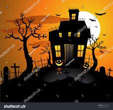 orange and purple halloween town background haunted house halloween background stock vector 52921042