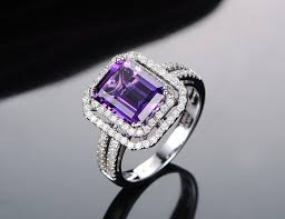 emerald amethyst rings images Amethyst diamond halo engagement ring emerald cut amethyst jpg