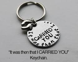 footprints in the sand gifts it was then that i carried you keychain with footprint charm