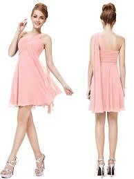 knee length criss cross one shoulder coral short bridesmaid dress