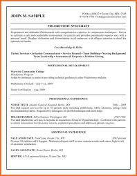 Sample Resume For Phlebotomist by Phlebotomist Resume Sop Example
