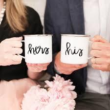 newlywed gift his hers enamel cfire mug set wedding gift newlywed gift