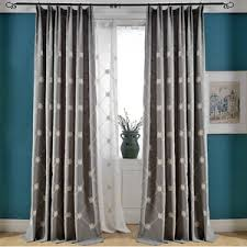 Country Curtains For Living Room Modern Style Gray Chenille Print Plaid Curtains For Bedroom Or