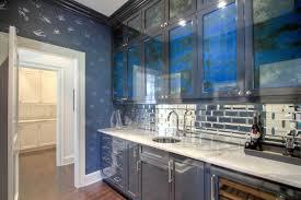 mirror backsplash in kitchen butler pantry with mirrored subway tiles contemporary kitchen