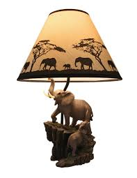 Sculpture Table Lamps Elephants On Expedition Sculptural Table Lamp W Decorative Shade