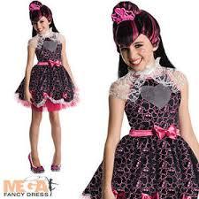 Monster Halloween Costume Kids Draculaura Wig Monster Girls Fancy Dress Halloween Vampire