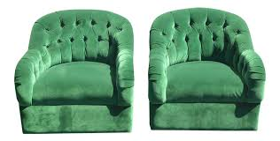 Mid Century Modern Swivel Chair by Vintage Pair Of Mid Century Modern Tufted Green Velvet Swivel Club