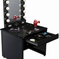 professional makeup lighting furniture black wooden table mirror with lights added chair and