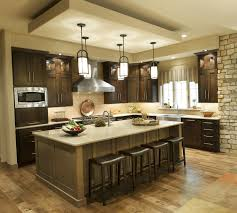 one pendant light over island togeteher with lights kitchen