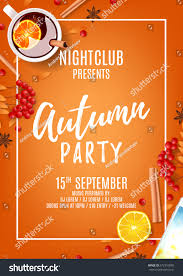 beautiful orange poster autumn party top stock vector 672310090