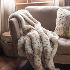 Faux Fur Blankets And Throws Snow Leopard Faux Fur Throw Hayneedle