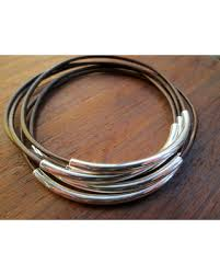 bracelet silver bangles images Spectacular deal on brown leather bangle set womens leather
