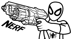 spiderman wiht nerf gun elite disruptor coloring book coloring