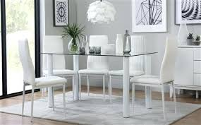 black table white chairs glass dinner table and chairs lunar glass dining table with 4 white
