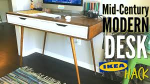Stand Up Desk Ikea Hack by Diy Mid Century Modern Desk Ikea Hack Youtube