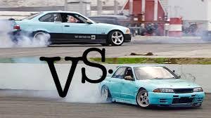 bmw e36 m3 drift v8 nissan skyline r32 vs bmw e36 m3 drift car