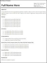 work experience resume template free excel templates