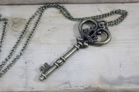 antique silver key necklace images Wholesale the large skeleton key necklace in antique brass finish jpg