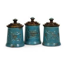 blue kitchen canisters blue kitchen canister sets of 3 amazon com