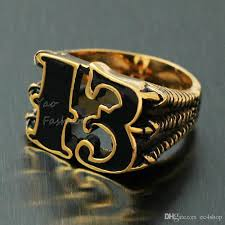 size 7 13 2015 new 18k plated classic gold men rings black men s vintage 18k gold plated black friday number 13 stainless steel