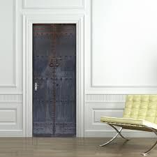 creative diy 3d door stickers old wooden door pattern home decor