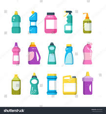 household products cleaning household products chemical cleaners bottles stock vector