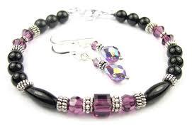 onyx bracelet images Black onyx bracelet and earrings set w simulated purple amethyst jpg