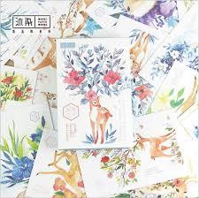 30pcs pack giraffe deer u0026 blossoming flowers plants postcard