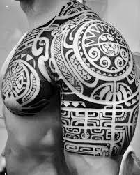polynesian shoulder chest tattoos po oino yrondi po oino