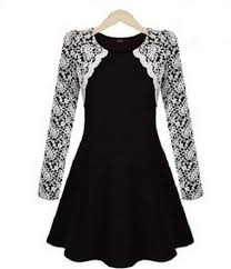 white lace womens style skater dress white lace sleeve