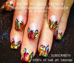 nail art by robin moses picasso neon http www youtube com watch