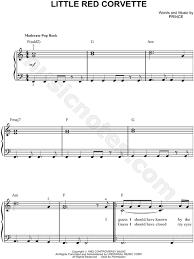 corvette chords prince corvette sheet easy piano in c major