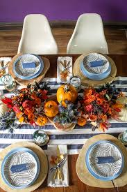 orange and navy thanksgiving tabletop decor inspiration featuring