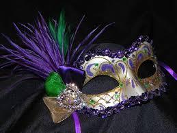 miniature mardi gras masks purple green and gold feather mardi gras mask