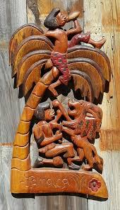 vintage 21 jamaica carved wood wall hanging plaque rasta