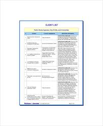 client list template client list template 6 free word pdf