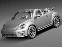 volkswagen white convertible rebusmarket high quality 3d models