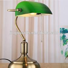 Traditional Brass Desk Lamps Old Shanghai Vintage Traditional Style Bedside Glass Bankers Lamp