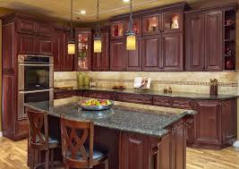 Delighful Kitchen Backsplash Ideas With Cherry Cabinets And - Pictures of kitchens with cherry cabinets