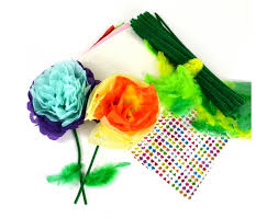 60 tissue paper flowers kids craft kit