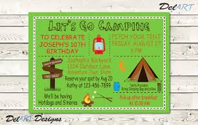 Reunion Invitation Card Templates Campout Invitations Birthday Camping Invites Family Reunion