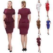 peplum dress women s sleeve peplum dress work office pencil knee