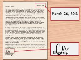 how write letter recommendation for nanny with sample home