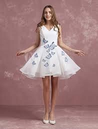 white prom dresses 2017 short cocktail dress v neck butterfly