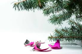 vintage new year and ornaments broken tree